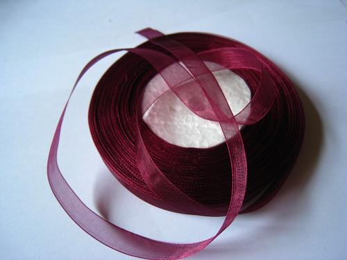 Lint Organza 12mm donkerrood