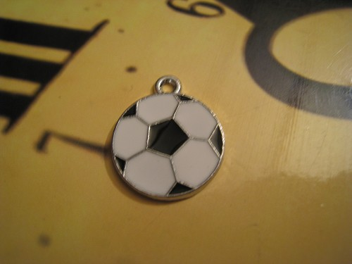 Charm Voetbal zilver + emaille
