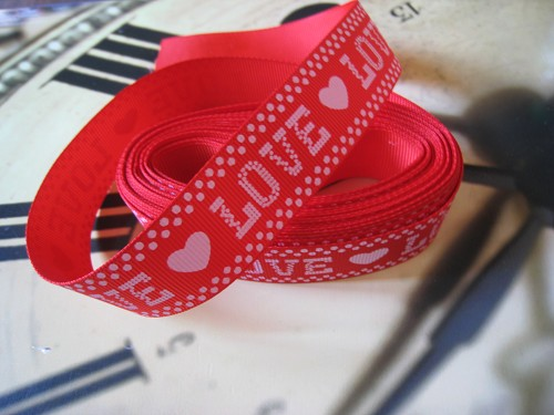 Lint Grosgrain 25mm Love Rood/wit